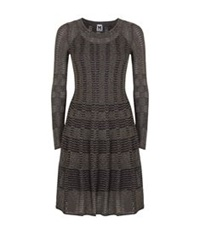M Missoni Lurex Check Fit And Flare Dress Black