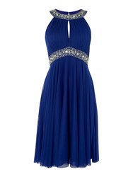 Eliza J Halter Beaded Waist With Neck Detail Royal Blue