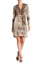 Hale Bob Long Sleeve Wrap Dress Brown