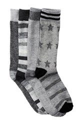 Lucky Brand Stars And Stripes Crew Cut Socks Pack Of 4 Gray