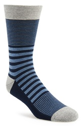 1901 Variegated Stripe Socks 3 For 20 Light Heather Grey Navy