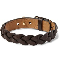 Tom Ford Braided Leather Bracelet Dark Brown