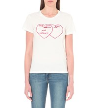 Levi's The Perfect Tee Heart Print Cotton Jersey T Shirt You Me Levis White