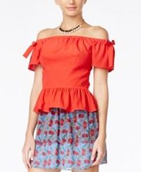 Alice Through The Looking Glass Juniors' Off The Shoulder Peplum Blouse Red