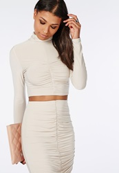 Missguided Ruched Slinky Crop Top Taupe Grey
