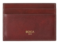 Bosca Old Leather Classic Front Pocket Wallet W Money Clip Dark Brown Wallet Handbags