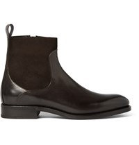 Ermenegildo Zegna Belgravia Suede Panelled Leather Boots Dark Brown