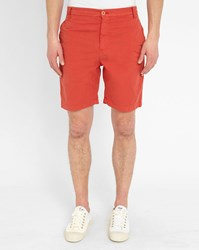 M.Studio Orange Paul Fitted Cotton Shorts