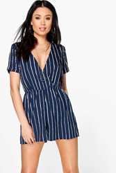 Boohoo Striped Wrap Front Playsuit Navy