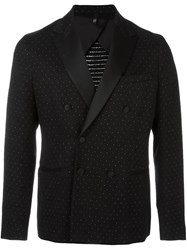 Christian Pellizzari Polka Dots Double Breasted Blazer Black