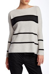 Vince Striped Boatneck Wool Blend Pullover White