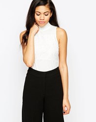 Daisy Street Top With Lace Panel White