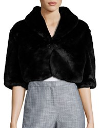Tahari By Arthur S. Levine Brooch Detailed Faux Fur Jacket Black