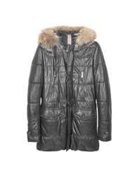 Forzieri Black Leather Montgomery Coat