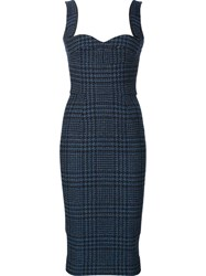 Victoria Beckham Fitted Tweed Dress Blue