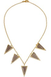 Kevia Gold Plated Quartz And Crystal Necklace Taupe