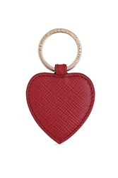 Smythson Heart Leather Keychain Red