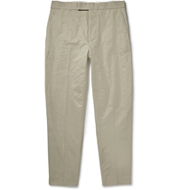 Lemaire Straight Leg Cotton And Linen Blend Trousers Gray