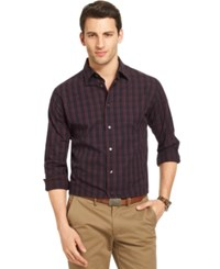 Van Heusen Night Dobbies Long Sleeve Plaid Shirt Burgundy Sauvignon