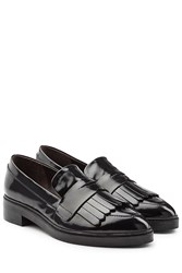 Steffen Schraut Patent Leather Fringed Loafers Black