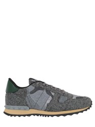 Valentino Rockrunner Camouflage Wool Felt Sneakers