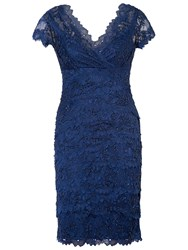 Chesca Layered Scallop Lace Dress Navy