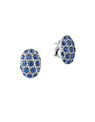 Effy 925 Sterling Silver And Bicolor Sapphire Button Earrings