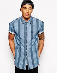 Asos Oversized Denim Shirt In Short Sleeve With Stripe And Polka Dot Print Blue