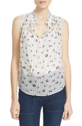 Rebecca Taylor Women's 'Sakura' Print Sleeveless Clip Jacquard Top Cream