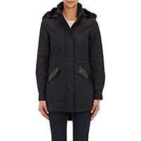 Barneys New York Women's Faux Fur Hooded Anorak Black Blue Black Blue