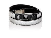 Saint Laurent Men's 3 Clous Double Wrap Bracelet Silver