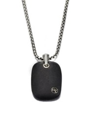 David Yurman Large Exotic Tablet Pendant Black Stone Sterling Silver