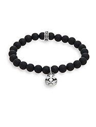 King Baby Studio Onyx And Sterling Silver Beaded Cross Button Charm Bracelet Silver Black