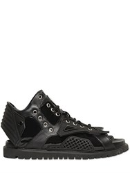 Ktz Structured Leather Lace Up Sandals