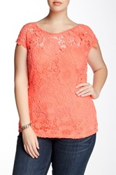Soieblu Sweetheart Lace Blouse Plus Size Pink