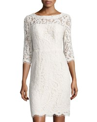 Nicole Miller New York Open Back Lace Sheath Cocktail Dress Ivory