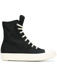 Rick Owens Drkshdw Long Tongue Lace Up Hi Tops Black