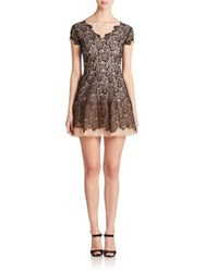 Nha Khanh Layered Tulle And Dyed Lace Dress Black Nude