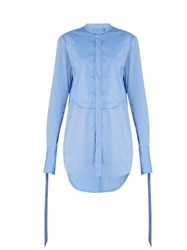Ellery Melodrama Ruched Cotton Shirt Blue