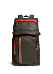 Contrast Trim Nappa Leather Backpack Green