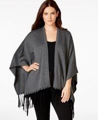 Calvin Klein Plus Size Faux Leather Fringe Knit Shawl Hthr Char