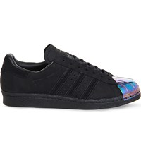 Adidas Superstar 80S Metal Toe Leather Trainers Black Petrol