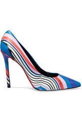 Emilio Pucci Printed Leather Pumps Blue