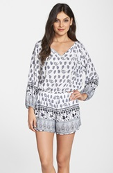 Fraiche By J Paisley Print Long Sleeve Romper Black White