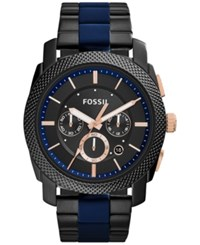 Fossil Men's Chronograph Machine Two Tone Stainless Steel And Silicone Bracelet Watch 45Mm Fs5164