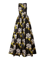 Adrianna Papell Full Skirt Floral Jacquard Ball Gown Black Multi