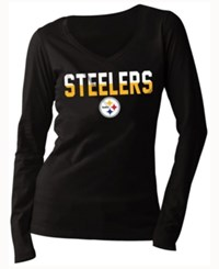 5Th And Ocean Women's Pittsburgh Steelers Huddle Le Long Sleeve T Shirt Black