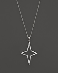 Roberto Coin 18K White Gold Diamond Star Pendant Necklace 18