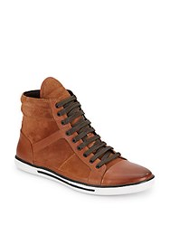 Kenneth Cole Sun Down Leather And Suede High Top Sneakers Rust