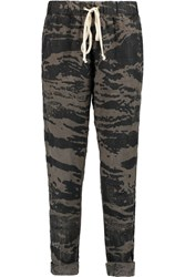 Enza Costa Printed Linen Tapered Pants Gray